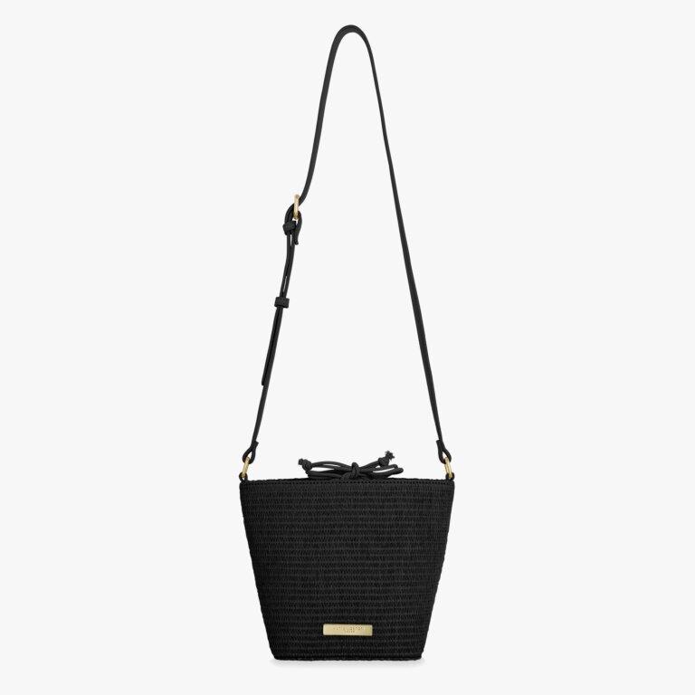 Callie Straw Crossbody Bag In Black