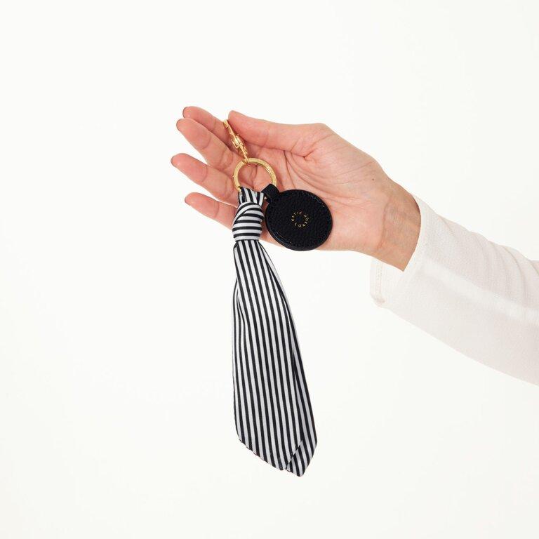 Carrie Scarf Keyring Bag Charm In Black Stripe