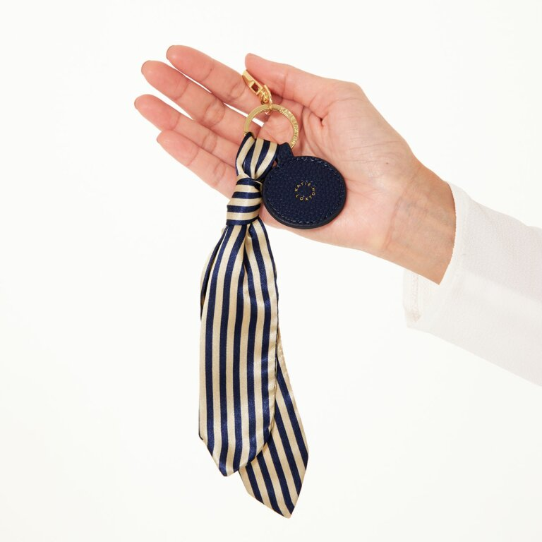 Carrie Scarf Keyring Bag Charm In Navy Stripe