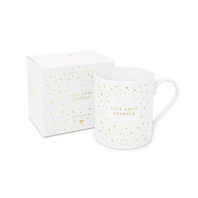 Porcelain Mug Live Love Sparkle In White And Gold