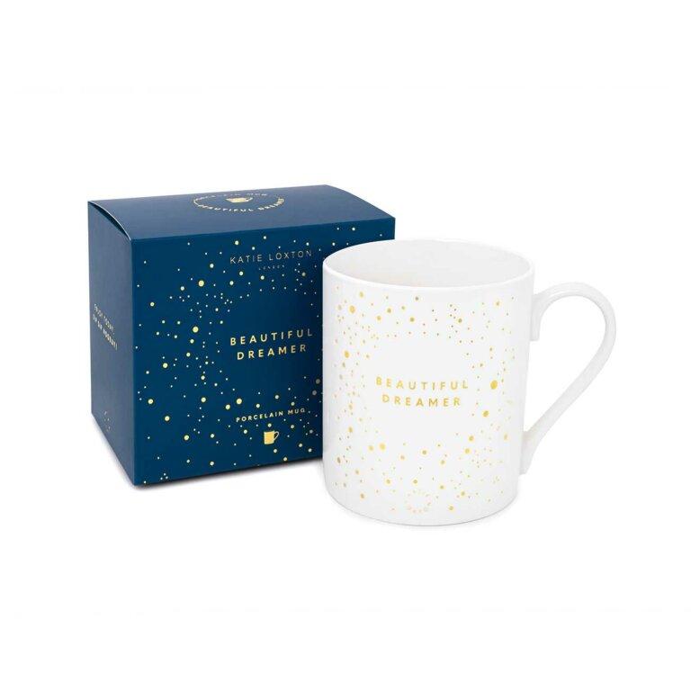 Porcelain Mug Beautiful Dreamer In White And Gold