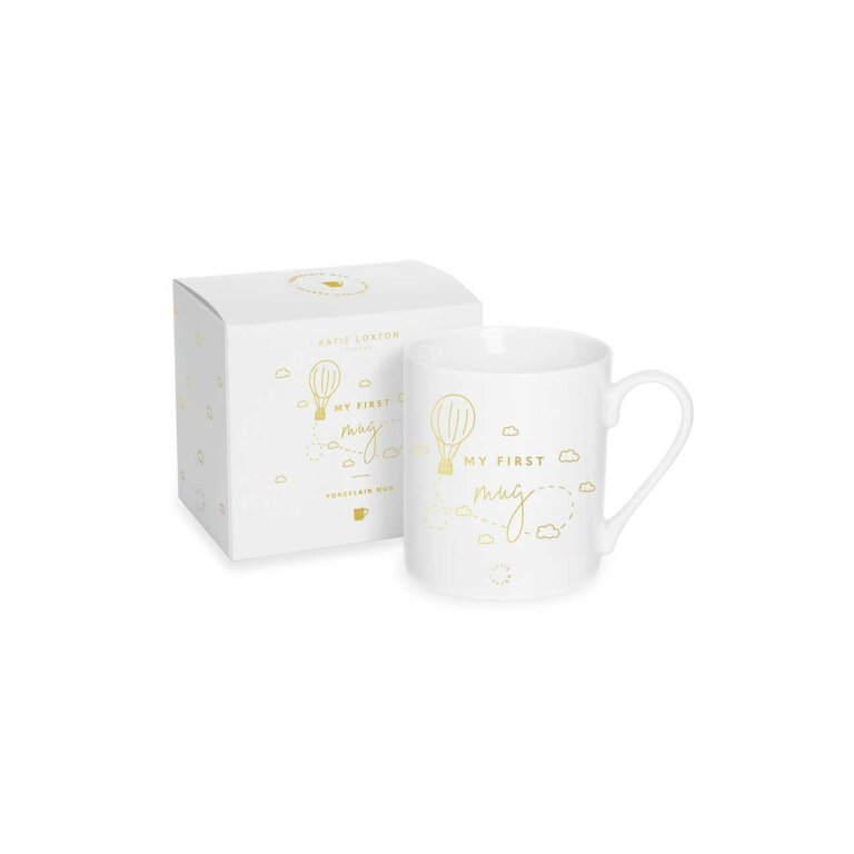 My First Baby Mug Hot Air Balloon In White And Gold