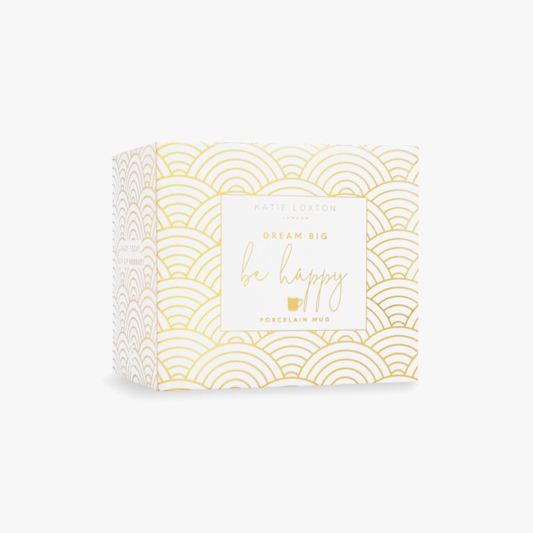 Boxed Porcelain Mug Dream Big Be Happy In White And Gold