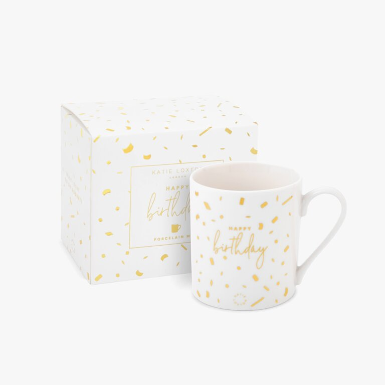 Boxed Porcelain Mug Happy Birthday In White And Gold