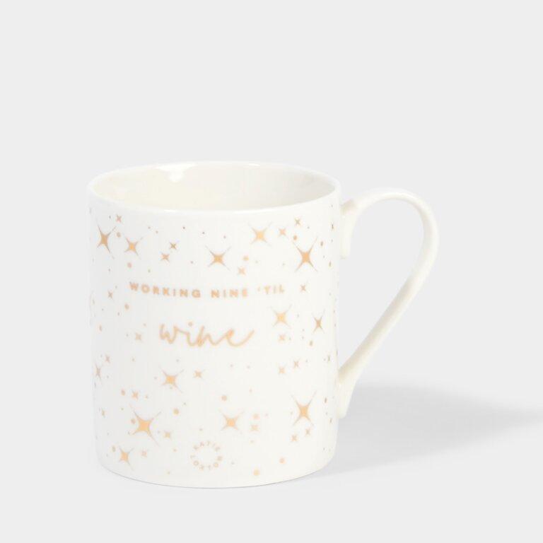 Boxed Porcelain Mug Working Nine Till Wine