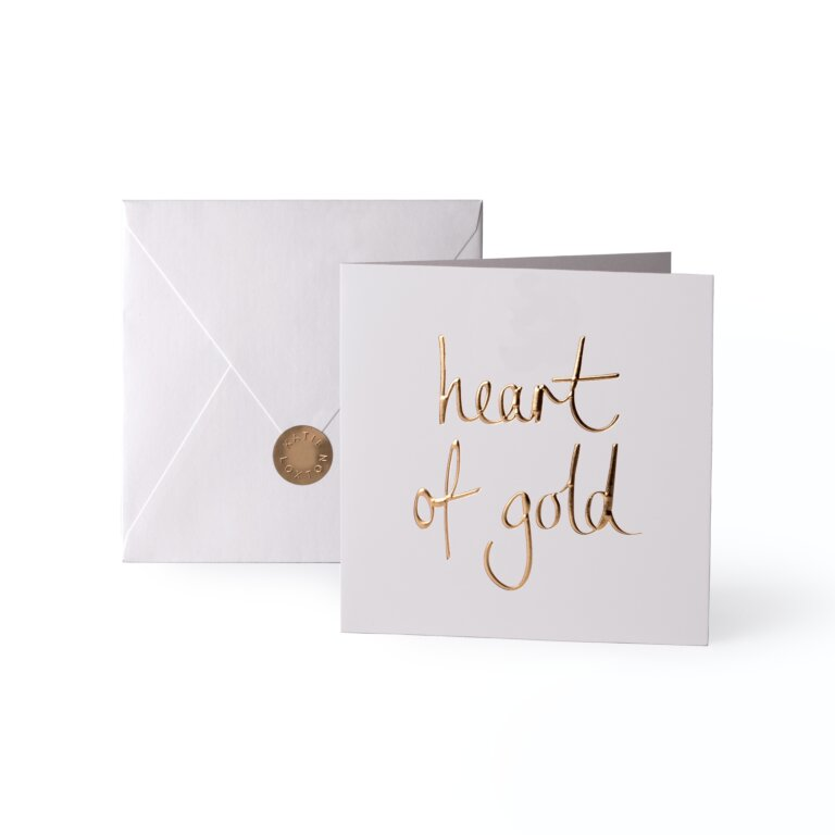 Greeting Card Heart Of Gold Gold Writing