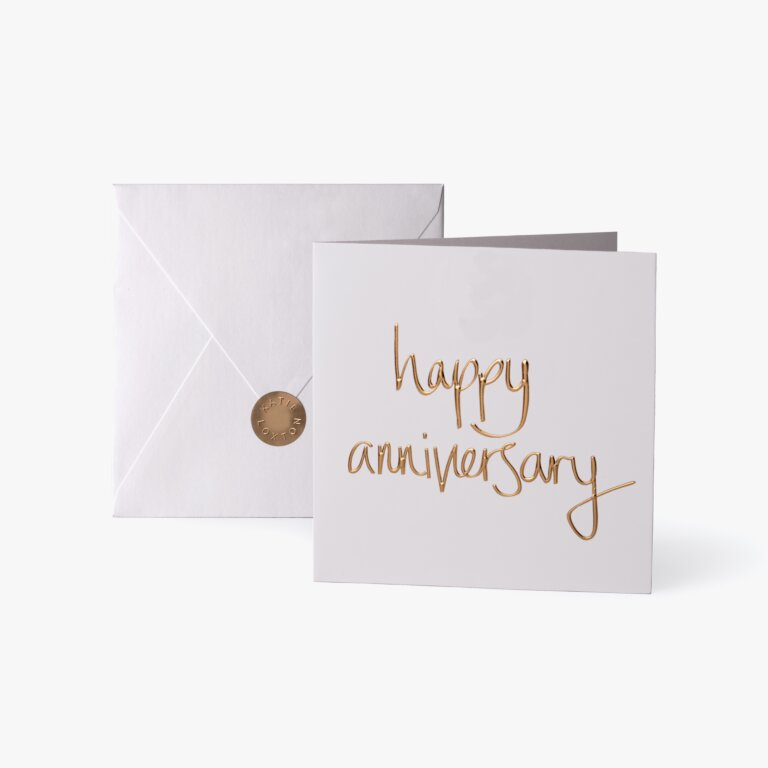 Greeting Card Happy Anniversary Gold Writing