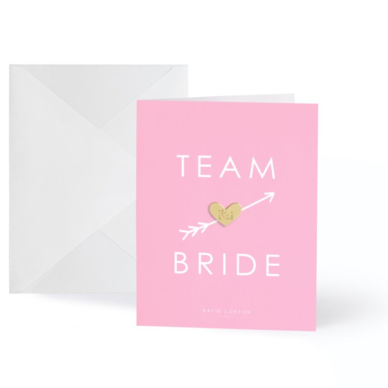 Gold Badge Greeting Card Team Bride In  Pink