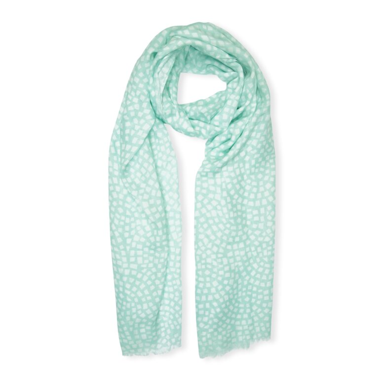Printed Scarf Mosaic Print In Mint Green And White