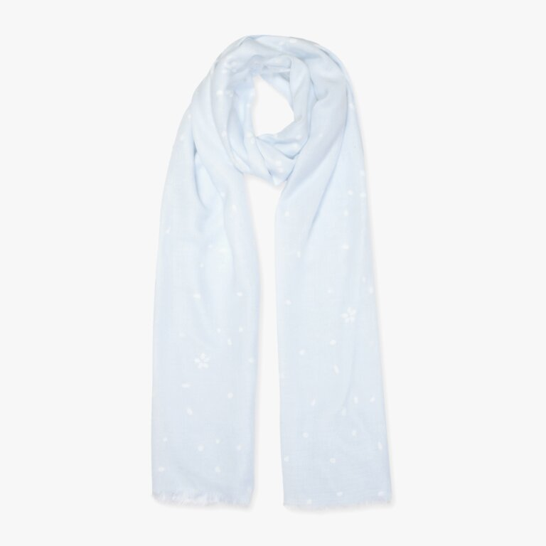 Printed Scarf Petal Print Blue And White