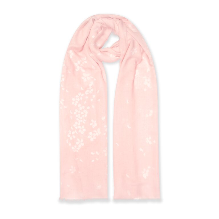 Printed Scarf Petal Print In Blush Pink And White