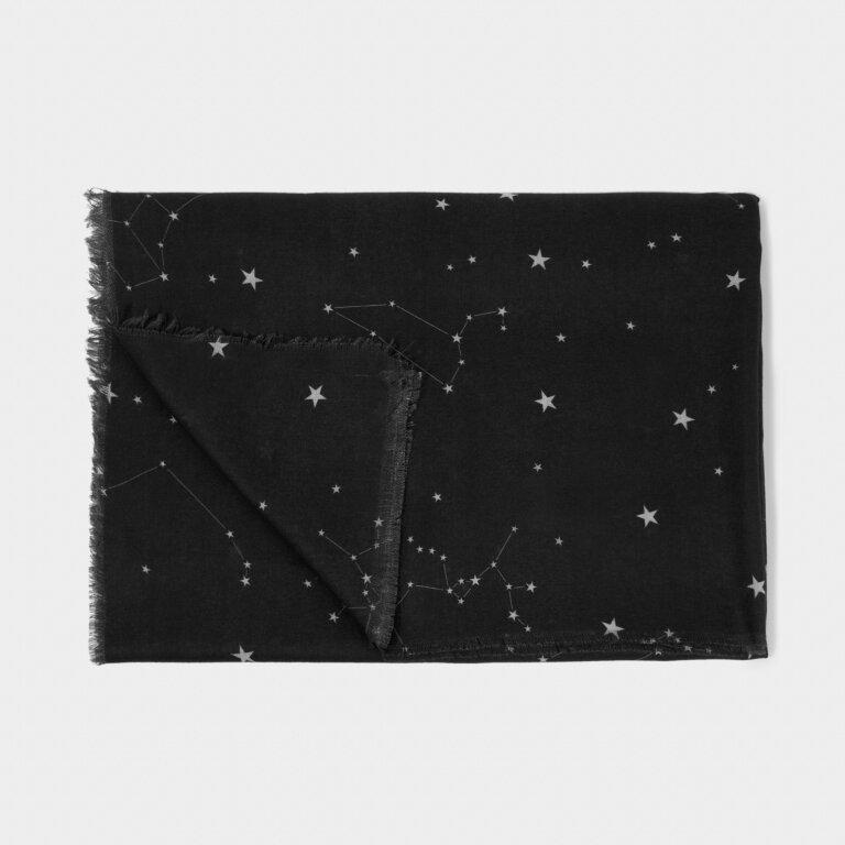 Printed Scarf Celestial Print in Black