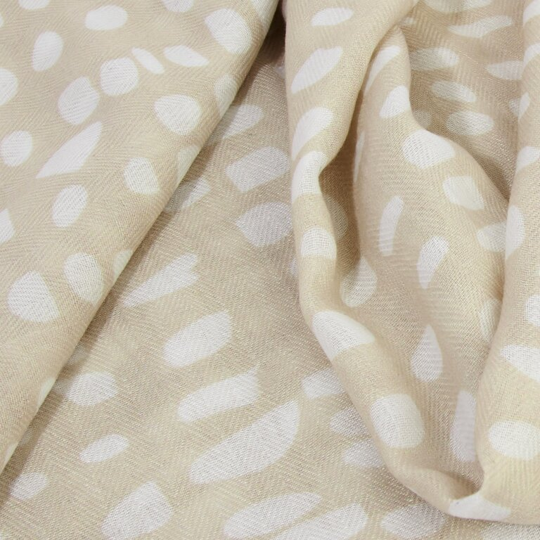 Printed Scarf Abstract Dot Print in Nude