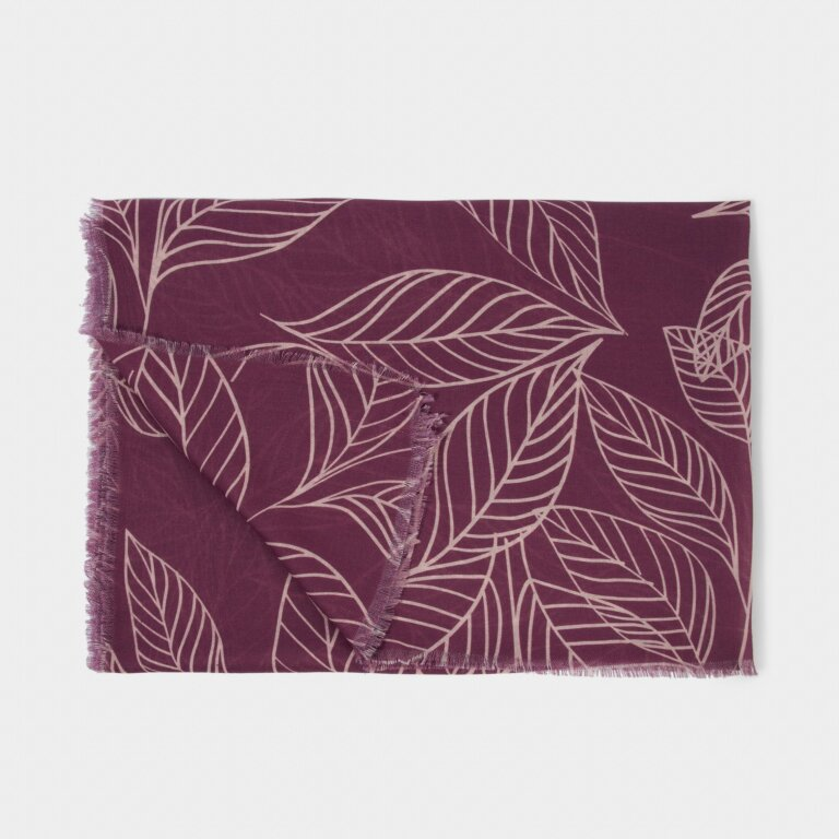 Printed Scarf Leaf Print in Purple