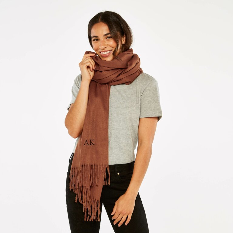 Thick Plain Scarf in Cognac