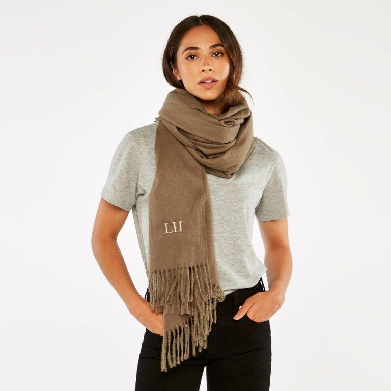 Blanket Scarf Sustainable Style in Dark Brown
