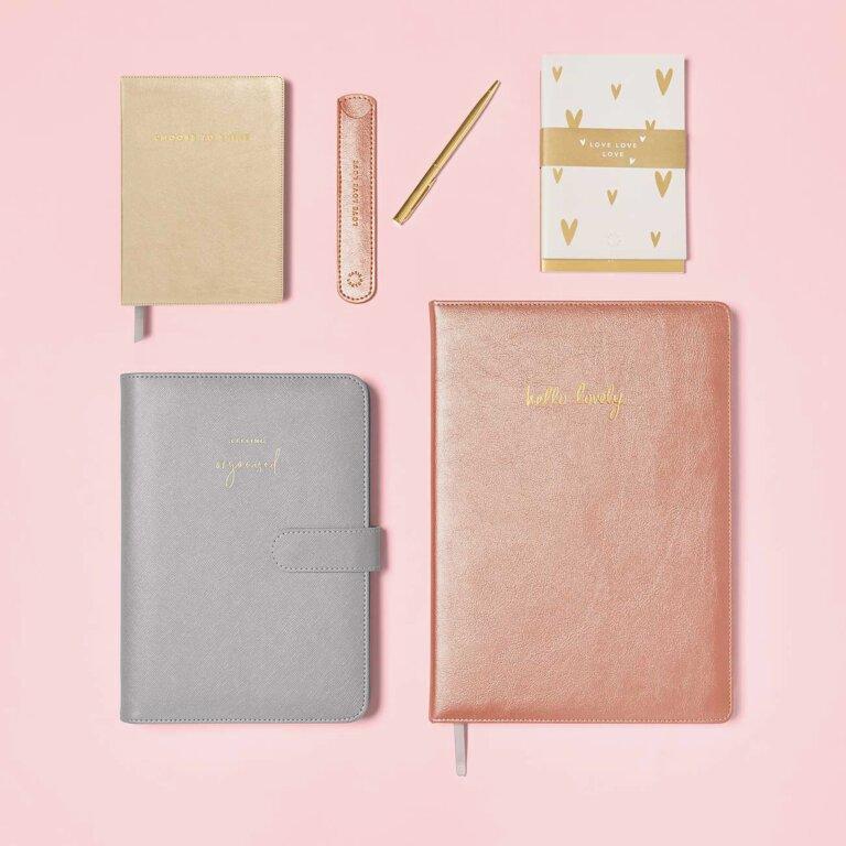 Pen Sleeve With Gold Pen Love Love Love In Metallic Pink