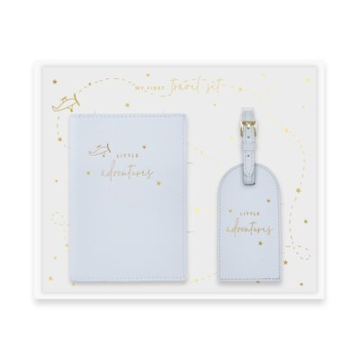Baby Passport Holder And Luggage Tag Gift Set Little Adventures In Blue