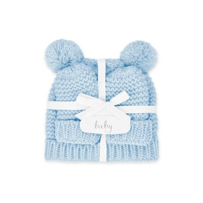 Baby Hat And Mittens Set 0-6 Months In Blue