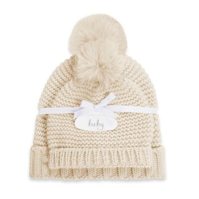 Mommy And Baby Bobble Hat Set In Oatmeal