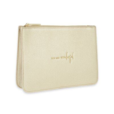 Stylish Structured Pouch You Are Wonderful In Gold