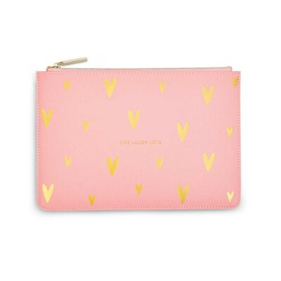 Gold Print Perfect Pouch   Live Love Sparkle   Pink