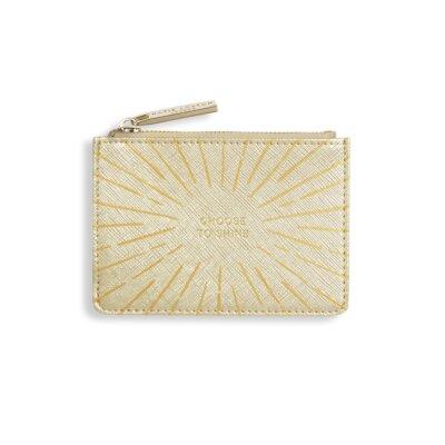 Gold Print Card Holder Choose To Shine In Metallic Gold
