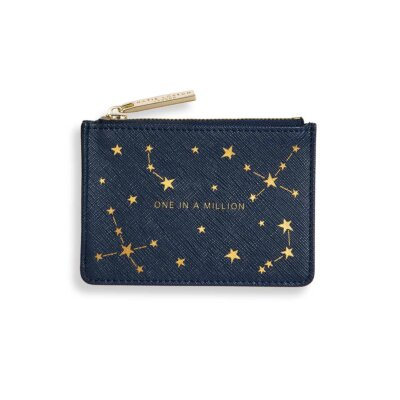 Gold Print Card Holder   One In A Million   Navy Blue