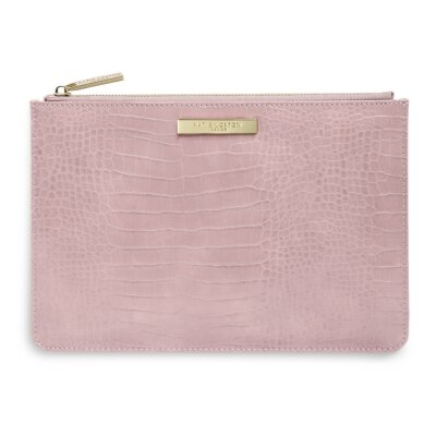 Celine Faux Croc Perfect Pouch In Pink
