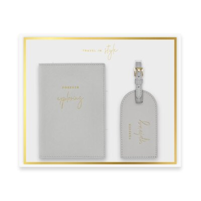 Boxed Passport Holder And Luggage Tag Set Forever Exploring In Grey