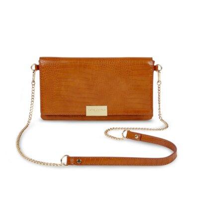 Celine Faux Croc Crossbody Bag In Cognac