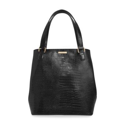 Celine Faux Croc Day Bag In Black