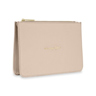 Stylish Structured Pouch Live Laugh Love In Nude Pink