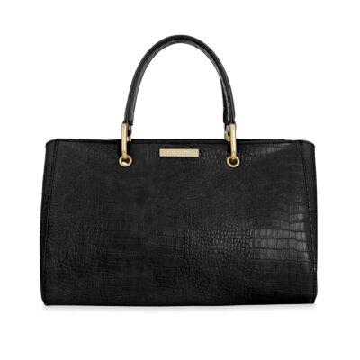 Celine Faux Croc Handbag | Black