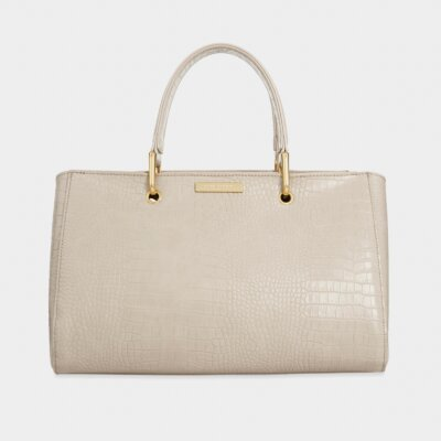 Celine Faux Croc Handbag Oyster Grey