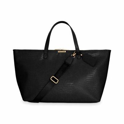 Celine Faux Croc Travel Bag | Black