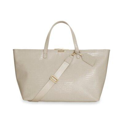 Celine Faux Croc Travel Bag In Oyster Grey