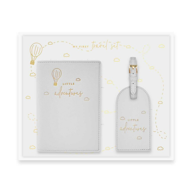 Baby Passport Holder and Luggage Tag Gift Set | Little Adventures | Gray