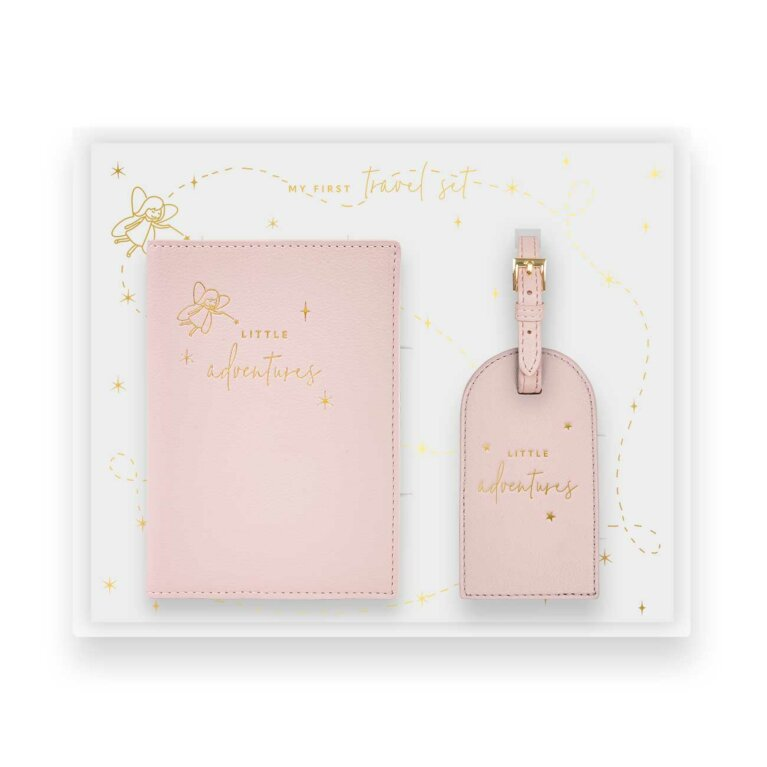 Baby Passport Holder and Luggage Tag Gift Set | Little Adventures | Pink