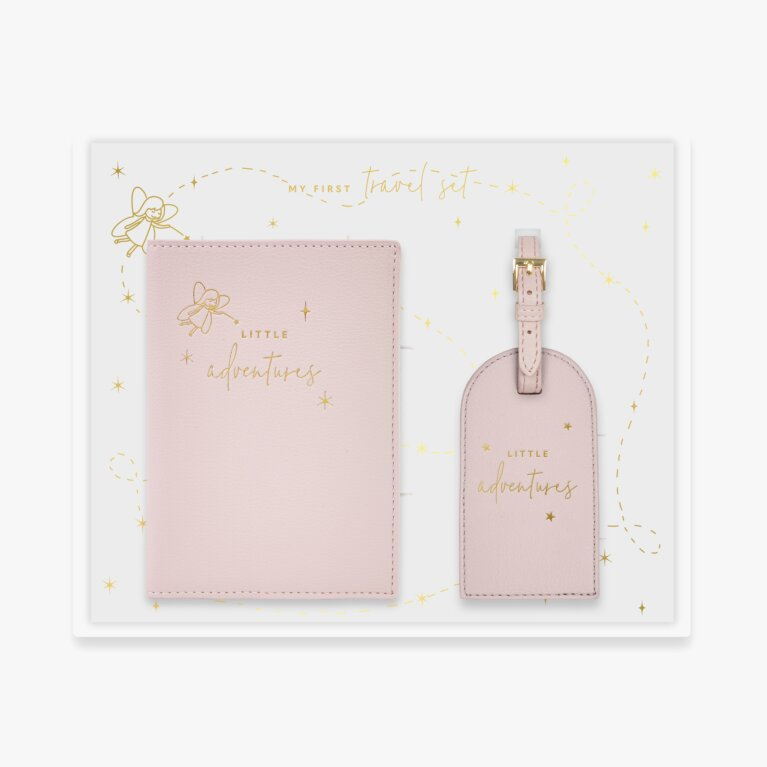 Baby Passport Holder And Luggage Tag Gift Set Little Adventures In Dusty Pink