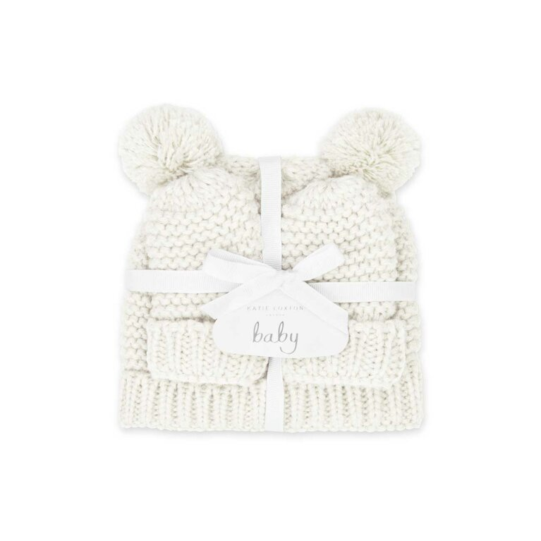 Baby Hat and Mittens Set 0-6 Months | White