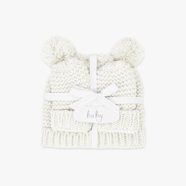 Baby Hat And Mittens Set 0-6 Months In White