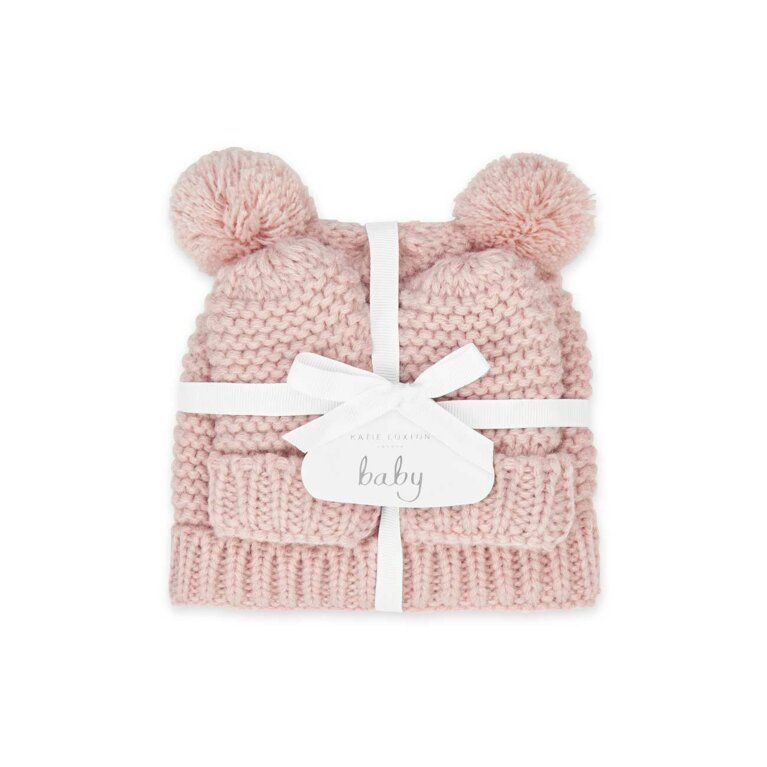 Baby Hat and Mittens Set (0-6 Months) | Pink