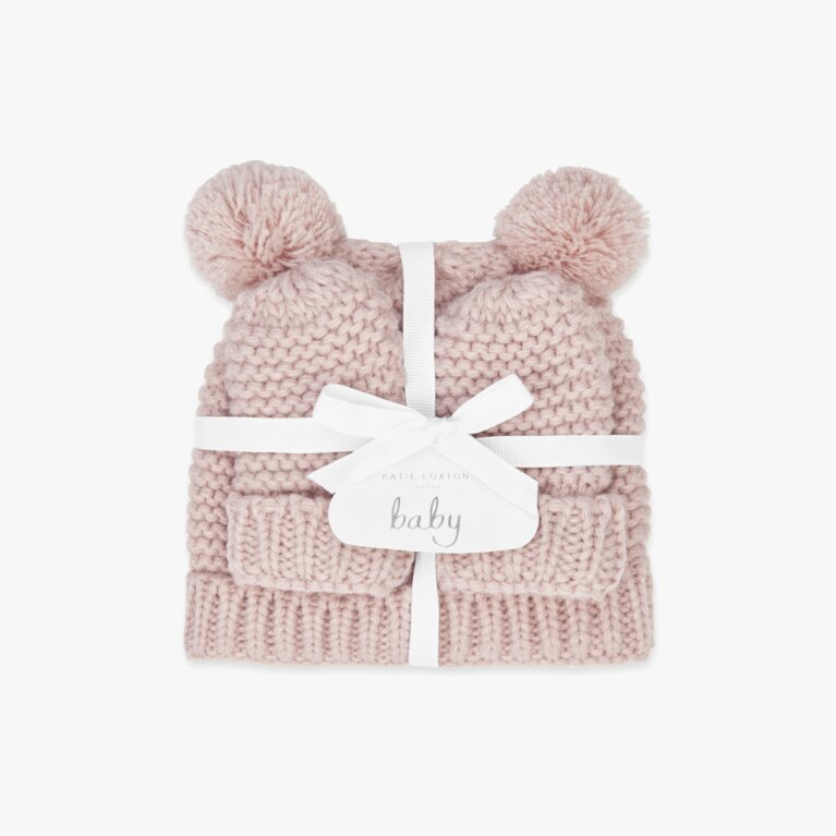 Baby Hat And Mittens Set 0-6 Months In  Pink