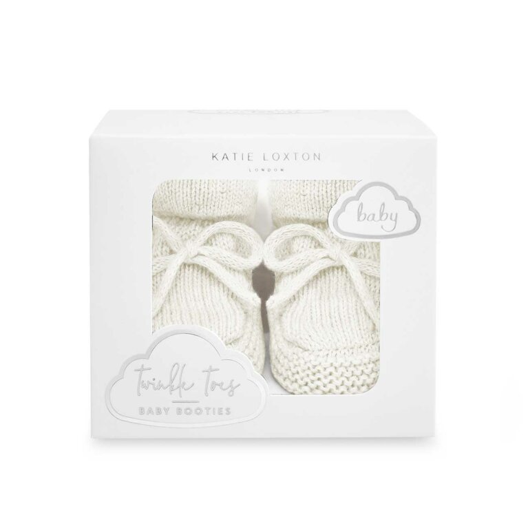 Knitted Baby Booties | White