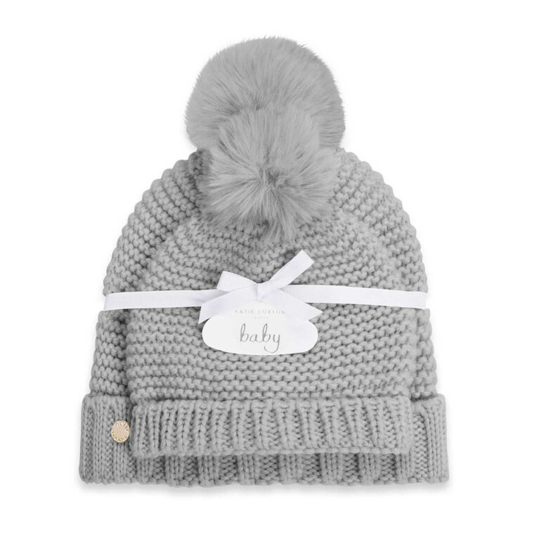 Mommy and Baby Bobble Hat Set | Gray