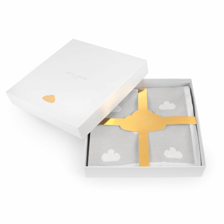 Beautifully Boxed Baby Blanket Welcome To The World In Grey