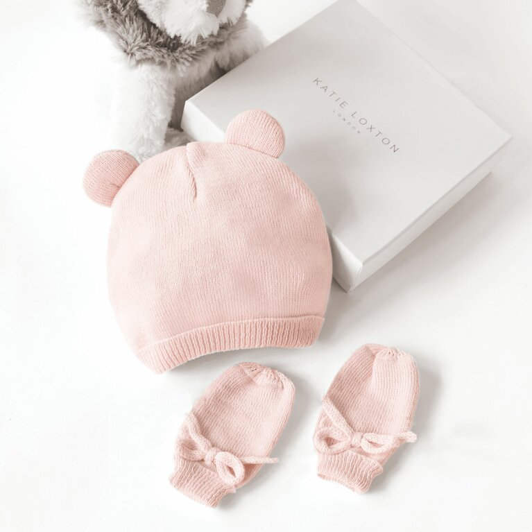 Beautifully Boxed Fine Knit Baby Hat And Mittens In Pink