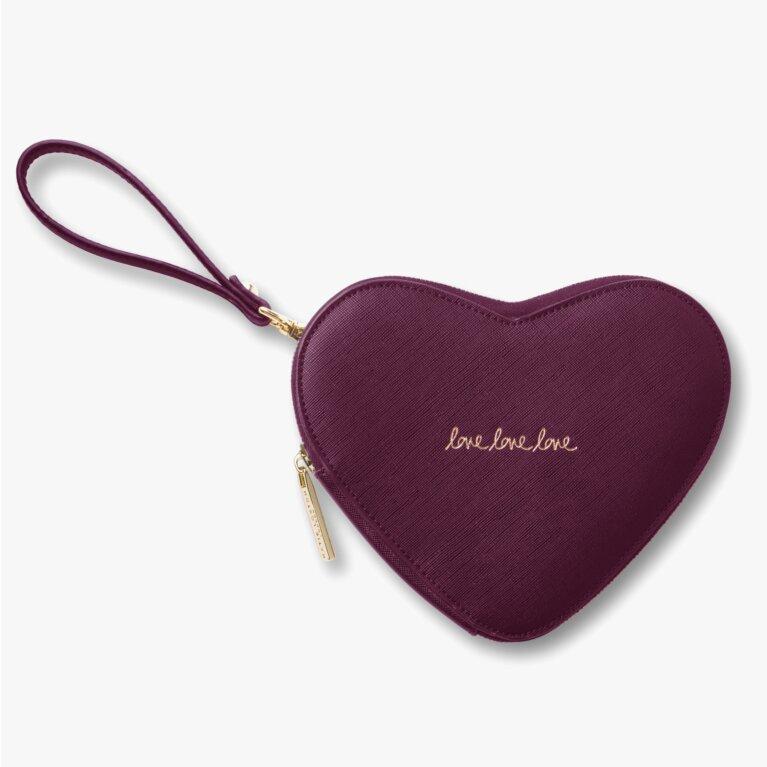 Heart Clutch Love Love Love In Burgundy