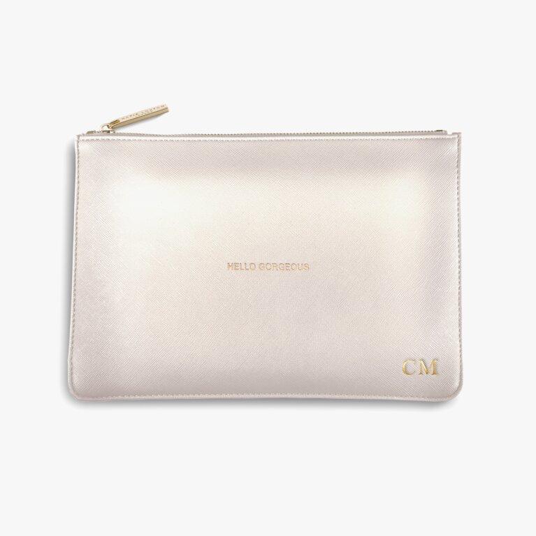 Perfect Pouch Hello Gorgeous In Metallic White